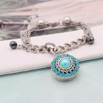 20MM rundes Design Snap versilbert und blaue Perle