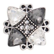 20 mm de diseño irregular chapado en plata y diamantes de imitación gris