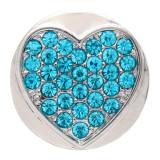 20MM loveheart design snap argent Plaqué et strass bleu