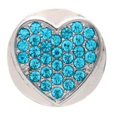 20MM loveheart design snap plateado y rhinestone azul