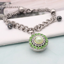 20MM round design snap silver Plated and green pearl