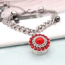 20MM rundes Design Snap versilbert und rote Perle