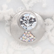 20MM round design snap silver Plated and white rhinestone