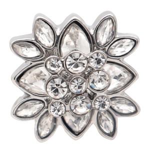 Diseño redondo de 20 mm de flores, chapado en plata y diamantes de imitación blancos