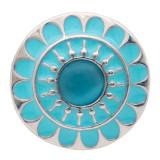 20мм цветок круглый дизайн посеребренная посеребренная и голубая эмаль кошачий глаз драгоценные камни