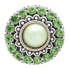 Diseño redondo de 20 mm, chapado en plata y perla verde