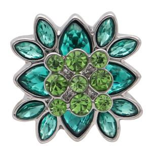 20мм цветок круглый дизайн оснастки посеребренные и зеленый горный хрусталь