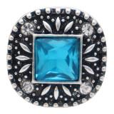20MM carré design mousqueton plaqué argent et strass bleu
