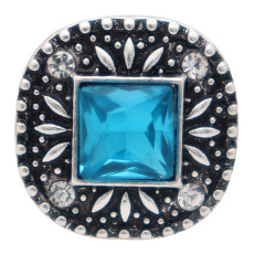 20MM square design snap silver Plated and blue rhinestone