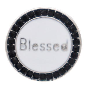 20MM blessed round design snap silver Plated and white enamel