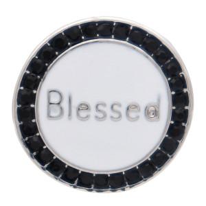 20MM bendito diseño redondo chapado en plata y esmalte blanco