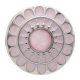 20MM цветок круглой формы посеребренная и розовая эмаль Кошачий глаз