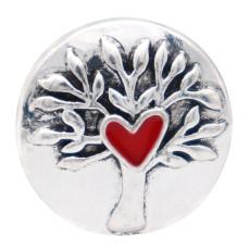 20MM Life Tree design snap silver Chapado en rojo Esmalte KC8313