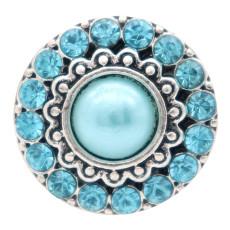 Diseño redondo de 20 mm, chapado en plata y perla azul