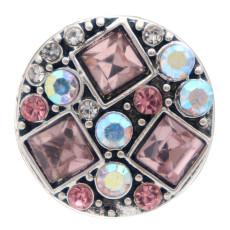 20MM design rond mousqueton plaqué argent et strass rose