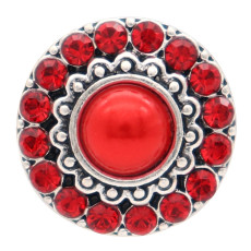 20MM round design snap silver Plated and red pearl