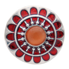 20MM flower round design snap silver Plated and red enamel Cat's Eye gemstones