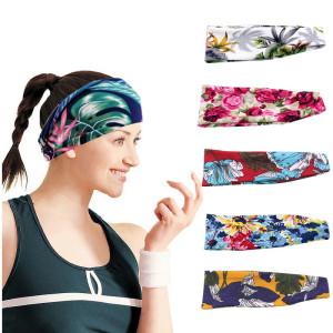 Bande de cheveux de sport impression de mode bande de cheveux de yoga bande de sueur arrêt de la sueur bandeau à large bord bandans