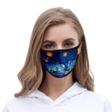 Halloween Tie dye face mask dustproof fashionable printed ice silk fabric washable