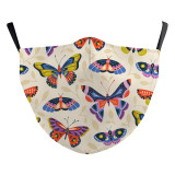 MOQ50 Butterfly Neue benutzerdefinierte Design-3D-Digitaldruck-Schutzmaske für Erwachsene kann die PM2.5-Filter-Gesichtsmaske für Erwachsene einsetzen