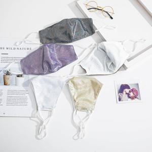 Masques faciaux de mode, tissu, masque lavable, boucle d'oreille réglable, masque facial brillant double couche