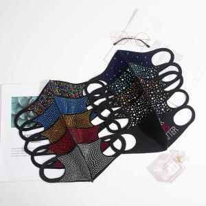 MOQ10 Strass personalisierte dekorative Maske modische bunte heiße Strassmaske Staub und Sonnenschutz modische Gesichtsmaske