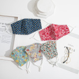 Flower pattern mask double layer breathable adjustable dust face mask