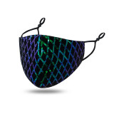 MOQ10 Color lattice face mask with thick dust-proof and air permeability, pluggable gasket, water washing and adjustable Sequin mask