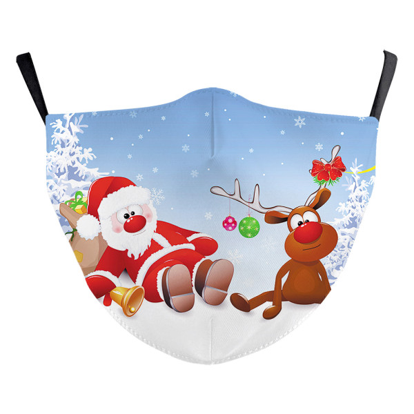 Children New customized design  Christmas 3D digital printing protective mask can put PM2.5 filter Children  face mask