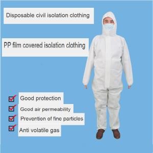 Ropa de aislamiento ropa protectora peritoneal de cuerpo entero anti epidemia todo en uno ropa protectora con capucha