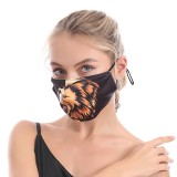 Masque facial en coton réglable en corde animale d'impression 3D lavable