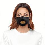 MOQ50大人のカスタマイズされたデザインの唇の芸術の洗えるファッションフェイスマスクには、フィルターソフトファブリック弾性イヤーストラップ用のポケットが含まれています