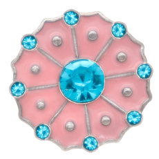 20MM Flower snap Silver Plated with blue Rhinestone and pink enamel  snaps jewelry