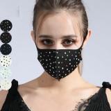 MOQ10 Tissu de coton de diamant de couleur à la mode anti-poussière avec masque en strass
