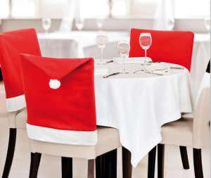 Christmas decorations red non-woven Christmas supplies seat cover