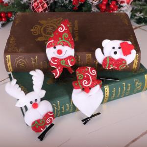 Adornos navideños Papá Noel Muñeco de nieve alce Horquilla navideña Tocado navideño de fieltro Horquilla