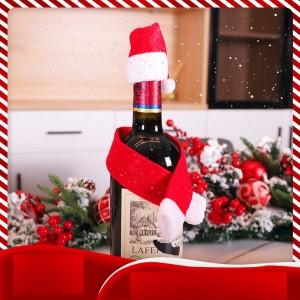 クリスマスデコレーションワインボトルセットサンタ帽子ワインコルクデコレーションホテルファミリーテーブルドレスアップ