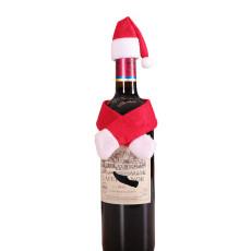 Christmas decoration wine bottle set Santa hat wine cork decorations hotel family table dress up