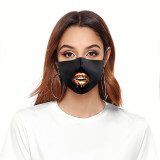 Adult customized design lips arts washable fashion face mask includes Pocket for filter soft fabric elastic ear straps