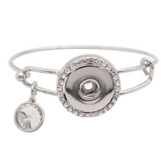 1 buttons snap silvery metal bracelet with rhinestone fit snaps Jewellery