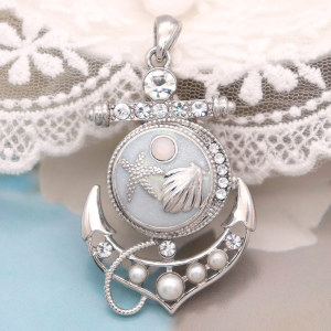 Pendentif de ruban de pression d'ancre de bateau de perle ajustement bijoux de style de boutons-pression de 20 MM