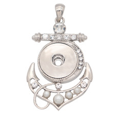 Pearl boat anchor snap sliver Pendant  fit 20MM snaps style jewelry