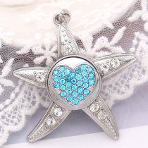 Starfish snap sliver Pendant  fit 20MM snaps style jewelry