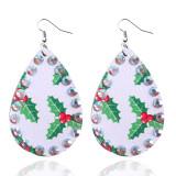 Boucles d'oreilles en cuir de Noël avec strass Boucles d'oreilles en cuir exquis Boucles d'oreilles en cuir