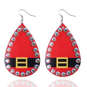 Рождественские кожаные серьги со стразами из изысканной кожи Серьги висячие кожаные Серьги