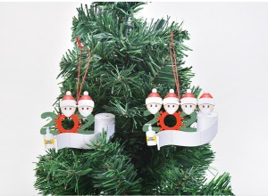 DIY blessing words wooden pendant mask Snowman Christmas tree hanging pendant Christmas decoration