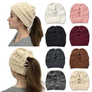 Hohle Schachtelhalm-Strickmütze mit offenem Rücken für warme Wollmütze für Frauen