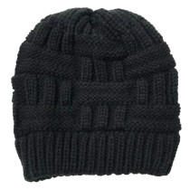 Hollow horsetail knitted hat with open back for women's wool warm hat