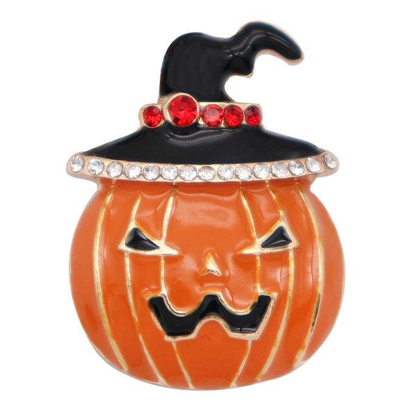 Halloween 20MM Pumpkin design snap plaqué or et émail orange