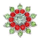 20MM design de fleur snap argent plaqué et strass rouge vert